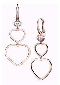 Hy Hearts Long Rose Gold Earrings Earings 2 Floating Diamond From The Chopard Jewelry Collection