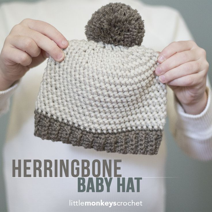 Herringbone Baby Hat Crochet Pattern, Sizes Newborn - 12 months | Free baby hat crochet pattern with ribbed brim and pom pom by Little Monkeys Crochet
