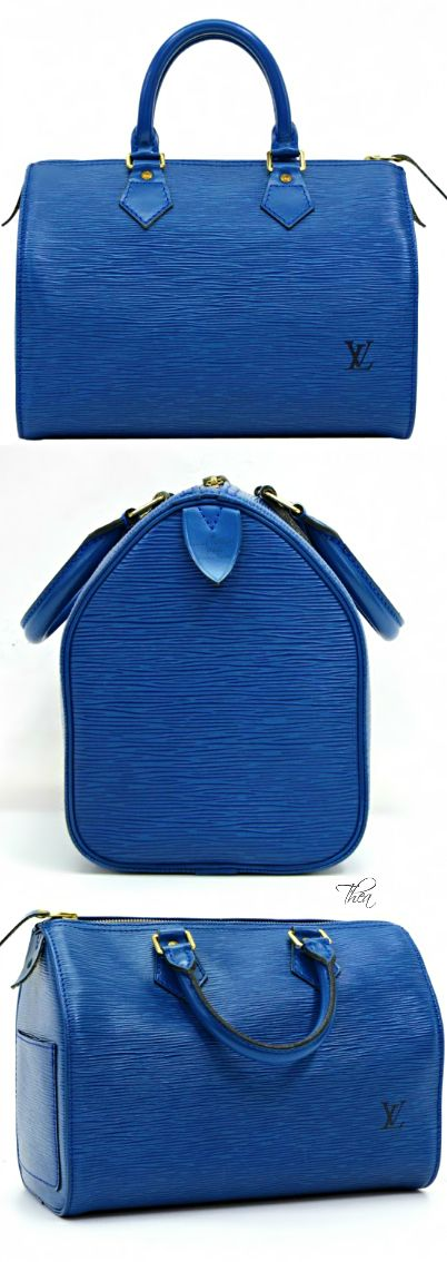 Louis Vuitton ● Speedy 25 Blue Epi Leather City Evening Bag