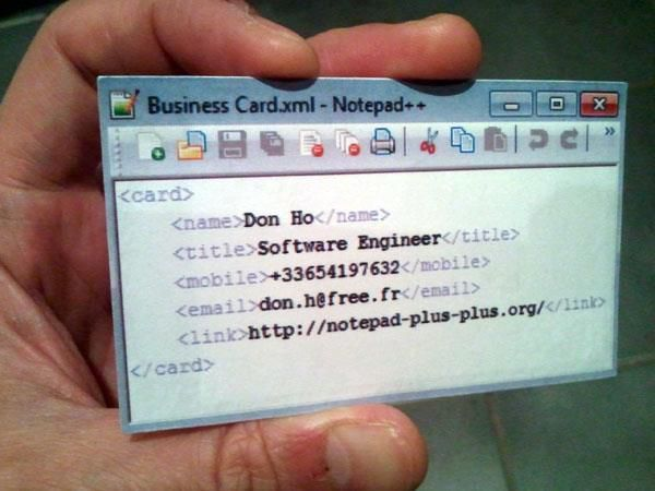 Coder's business card.