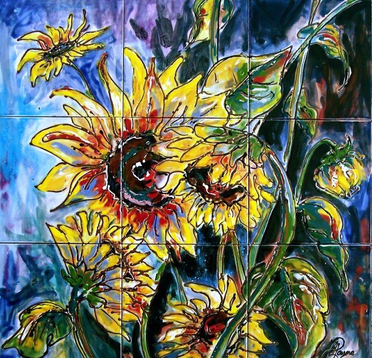 Carolyn Payne murals- hand painted tile mural/ ceramic tile Sunflower mural