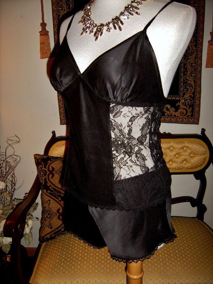 Vtg Black Victorias Secret Glossy Liquid Silk Tap Pants -9761