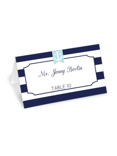 Free Printable Nautical Striped Place Card Maker from @chicfetti #freeprintable - editable text type in your own names and table numbers