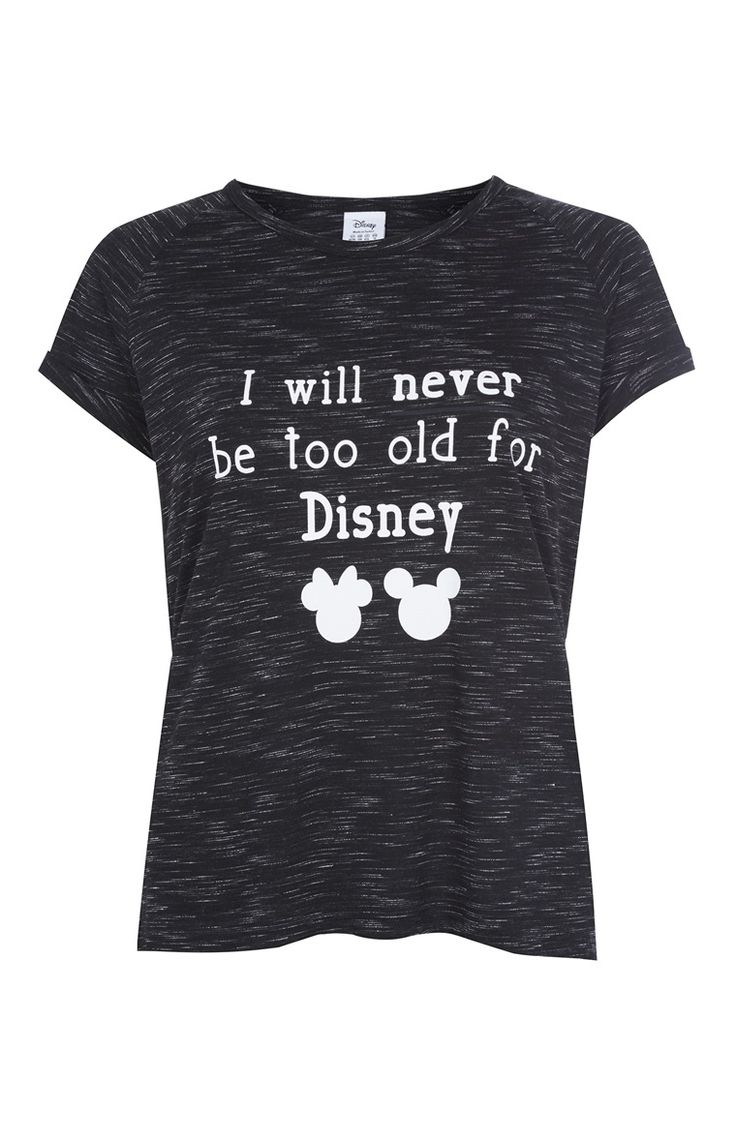 Primark - T-shirt Never Too Old For Disney noir