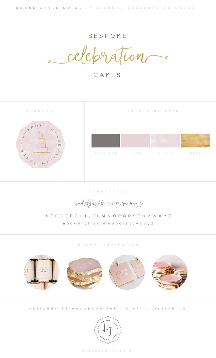 Super soft and pretty branding for a wedding cake company. I teamed classic blush pink and gold with a geode texture for an on trend update. A detailed handwritten logo is offset with clean, modern typography and geometric shapes.