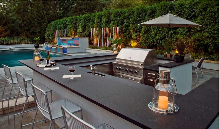 Modern outdoor bbq patio contemporary with waterfall outdoor countertop integrated grill