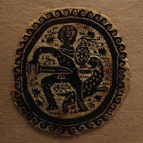 Tapiz con una escena de caza, copta de Egipto.    Fecha séptimo siglo aC    Medio tapiz    ubicación actual      Museo de Bellas Artes de Rennes ♥