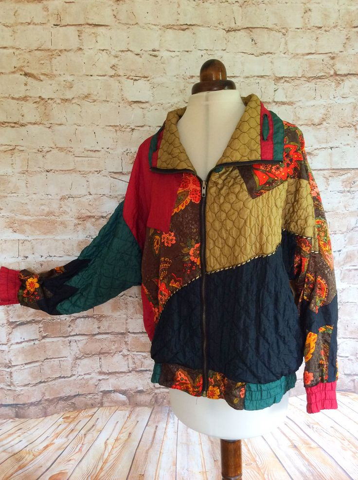 Vintage Sports Jacket Shell Top Patchwork Zip Up By Nuggets Festival Bohemian Boho Chic Large c 1970-80s by InVogueToVintage on Etsy