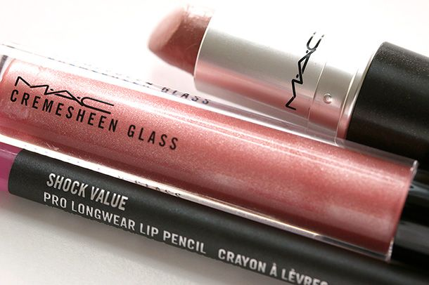 MAC Flare for Fantasy Cremesheen Glass, Modesty Lipstick and Shock Value Pro Longwear Lip Pencil