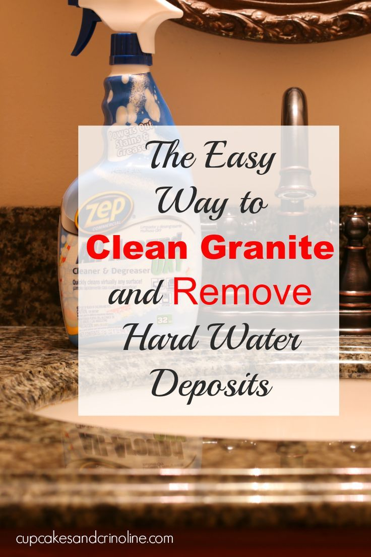This is the easiest way I've found to clean granite and remove hard water deposits from it as well. #ZepSocialstars AD http://cupcakesandcrinoline.com/2015/07/14/my-best-tip-for-cleaning-granite-this-even-removes-hard-water-deposits/