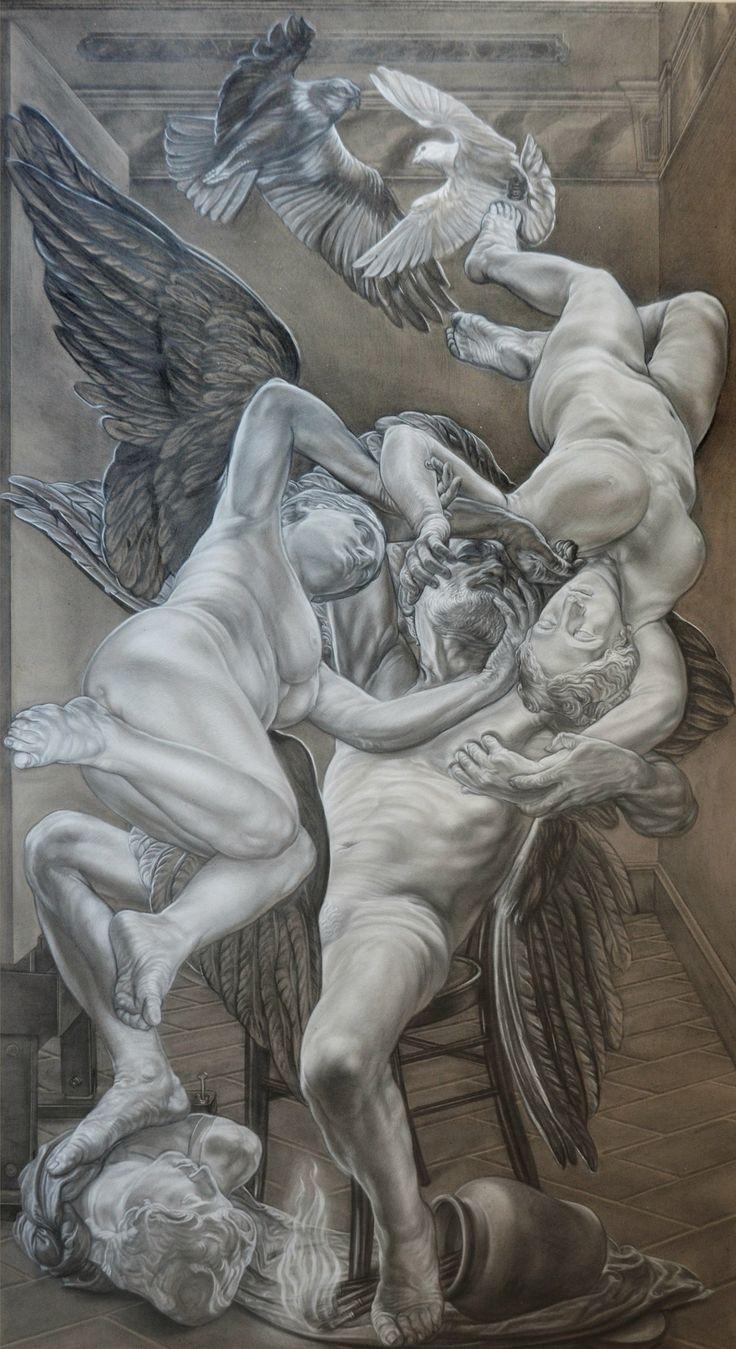 """""""the dream of Prometeus"""" pencil and white conté  cm 120x220"""