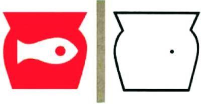 Optische Täuschung - Farben: Sieh etwa 30 Sekunden lang auf das rote Auge des Fisches links. Danach auf den schwarzen Punkt im rechten Glas. Welche Farbe hat jetzt Wasser im rechten Glas?