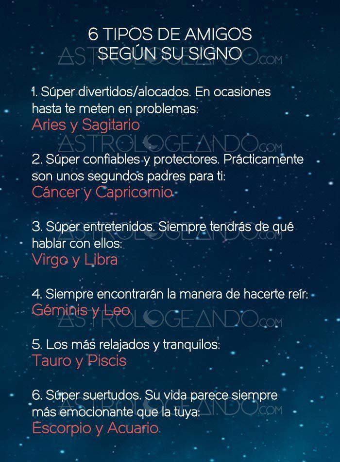 6 TIPOS DE AMIGOS SEGÚN SU SIGNO