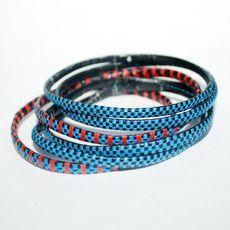 Bijoux Touareg Ethniques Bracelets africains fin lot rose/bleu - KARUNI