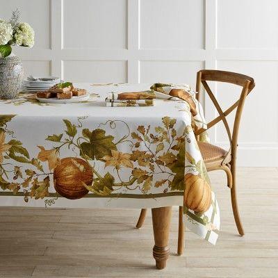 Botanical Pumpkin Tablecloths #williamssonoma