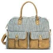 Women's Woven Metallic Fabric Weekender Handbag - Gray