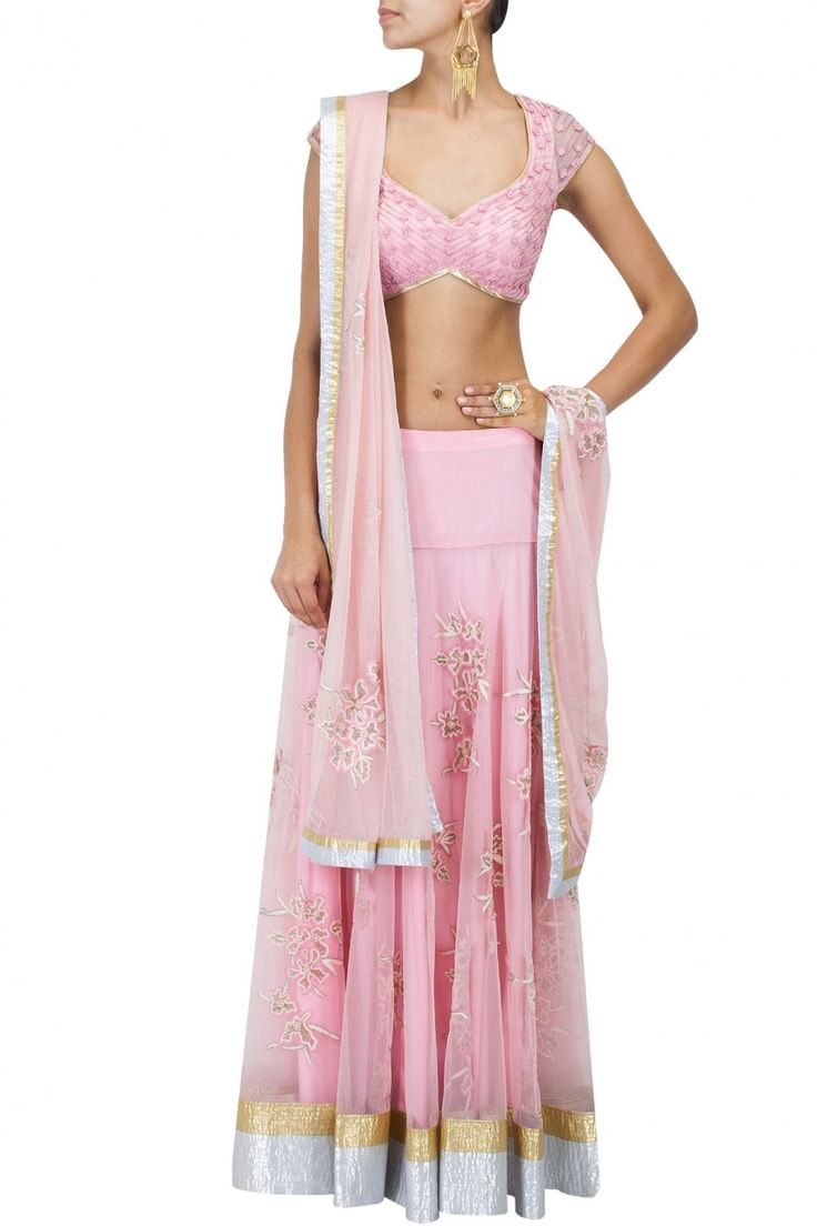 Pink gold and silver embroidered lehenga