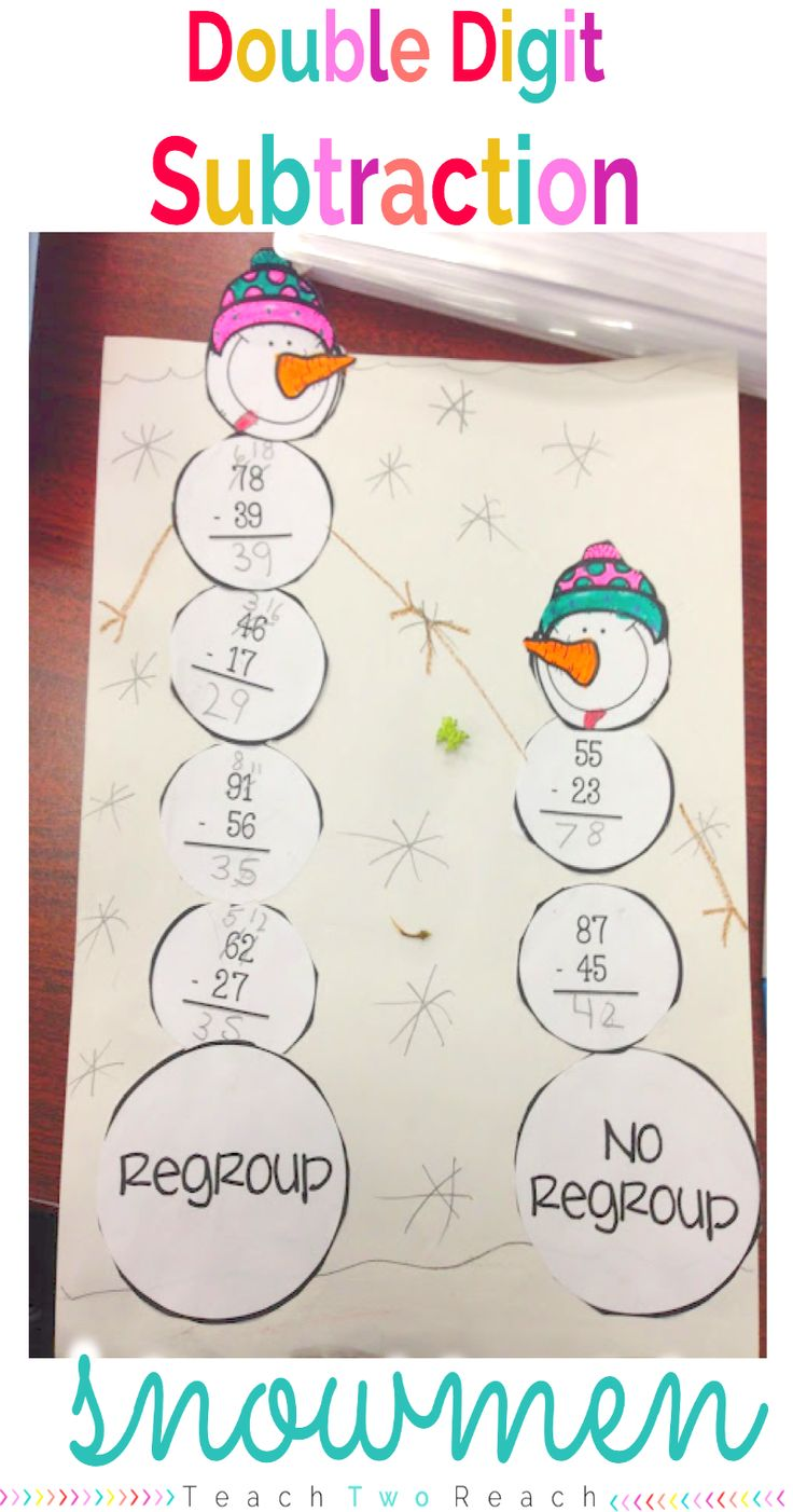 Practice double digit subtraction with and without regrouping with this adorable stacking snowmen project. Freebie Included!