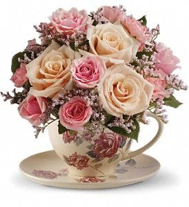 Teleflora's Victorian Teacup Bouquet in Lake Orion MI, Amazing Petals Florist
