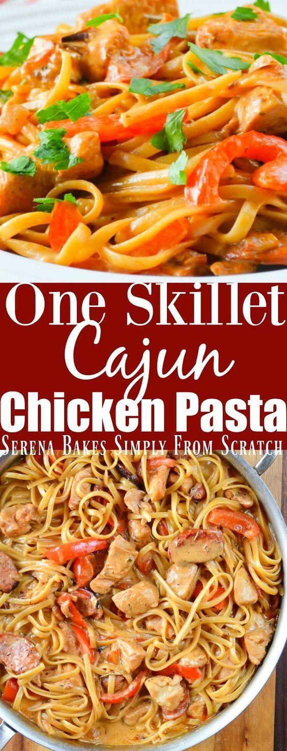 #Ad One Skillet Cajun Chicken Pasta is easy to make dinner recipe in under 25 minutes.