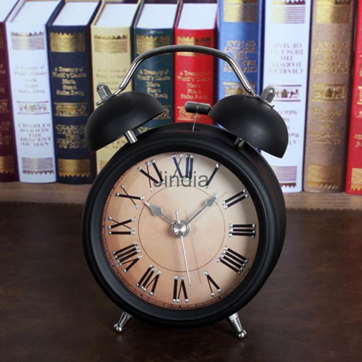 vintage bedside twin bell loud alarm clock nonticking for bedoom black b
