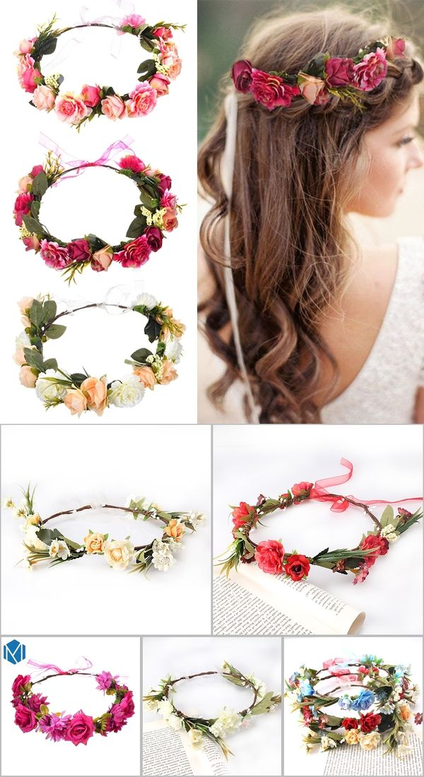 Coral Rose Garland Festival Head Band Hair Accessories UK