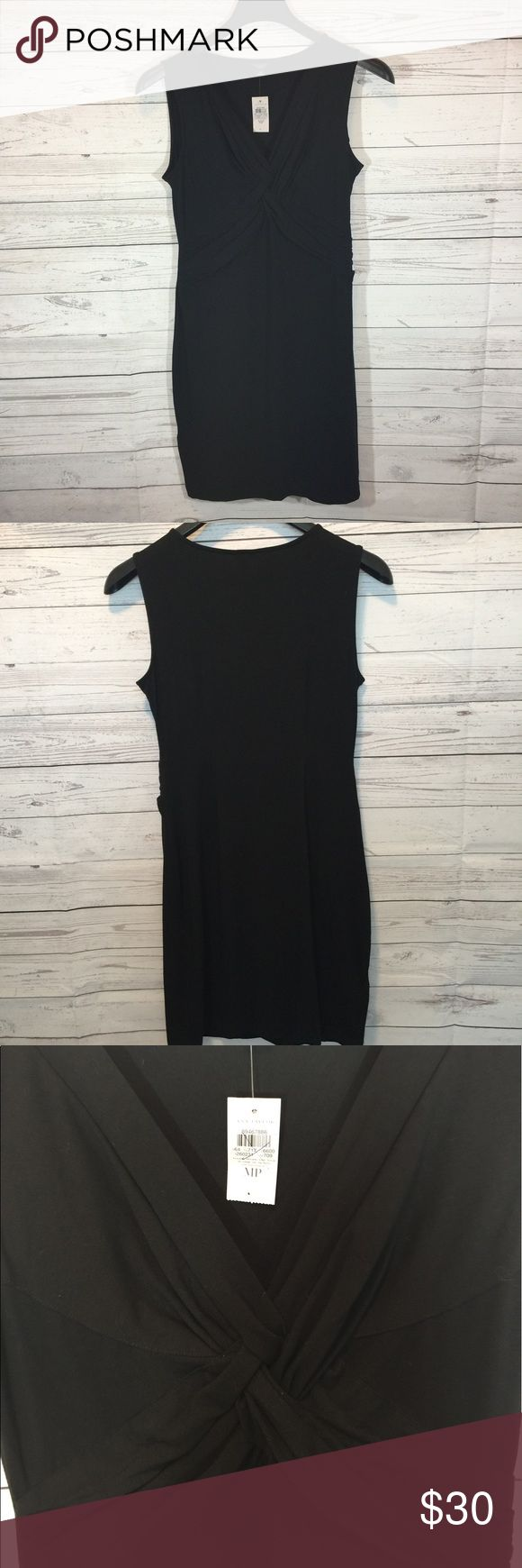 NEW Ann Taylor Petite Black Dress Size MP NWT Ann Taylor Black Dress with Knotted Design on Front. Petite Size MP. 93% Rayon, 7% Spandex. Light-weight, breathable Dress!  38 in length, 18 in from underarm to underarm. Ann Taylor Dresses Midi