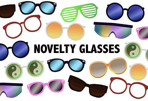 Novelty Glasses Clipart Printable Sunglasses Icons Etsy Novelty Glasses Funky Glasses Clip Art