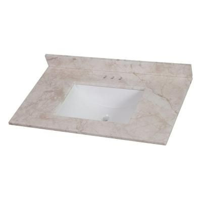 Home Decorators Collection 37 in. Stone Effects Vanity Top in Dune with White Basin $190