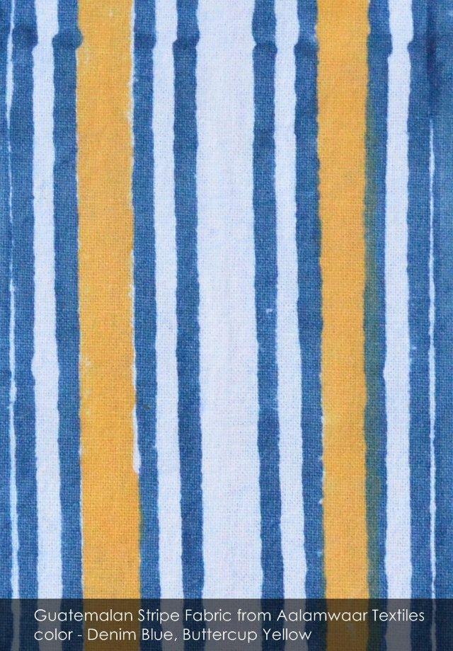 Guatemalan Stripe fabric from Aalamwaar Textiles in Denim Blue, Buttercup Yellow