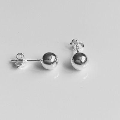 Náušnice kuličky  6mm - stříbrné náušnice