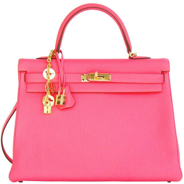 Pre-owned Hermes Rose Lipstick 35cm Togo Kelly Bag Gold Hardware (1.257.755 RUB) ❤ liked on Polyvore featuring bags, handbags, borse, hermes, handbags and purses, hermes kelly bags, top handle bags, pink leather purse, genuine leather purse and genuine leather handbags