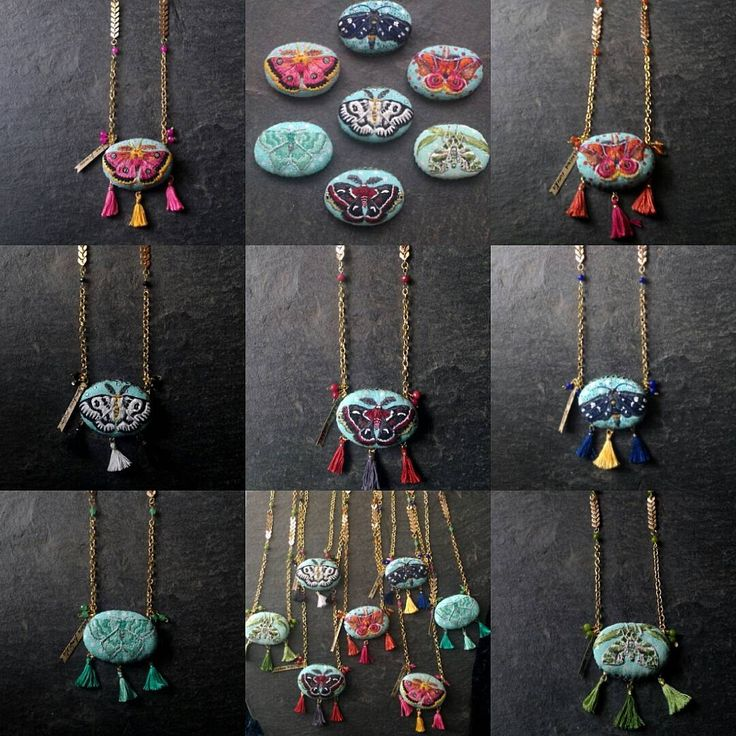 My latest work... a 7days/7embroidered moths collection I turned into pendant necklaces! @black_cat_creative_studio