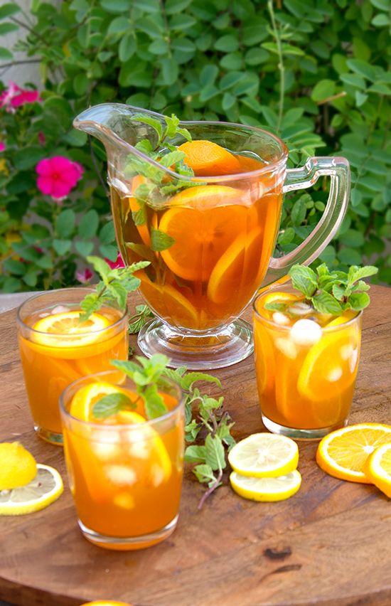 Citrus Iced Tea by thepatternedplate #Iced #Tea #Orange #Lemon #Mint