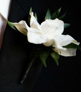 white gardenia wedding flower boutonniere, groom boutonniere, groom flowers, add pic source on comment and we will update it. www.myfloweraffair.com can create this beautiful wedding flower look.