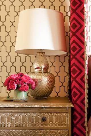 Designer Taylor Bosari featured Arches 5113 Metallic Gold, Moroccan 5146 Moroccan Black, Ticking Stripe 5605 Graphite, Wide Stripe 5618 Beig...
