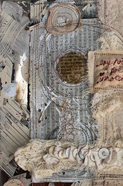 Every stich tells the story. Piece by Ruth Rae. #textiles, #collage