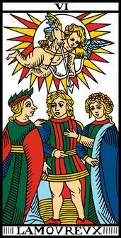 Arcano 6.  LAmoureux. El Enamorado. Tarot de Marsella.