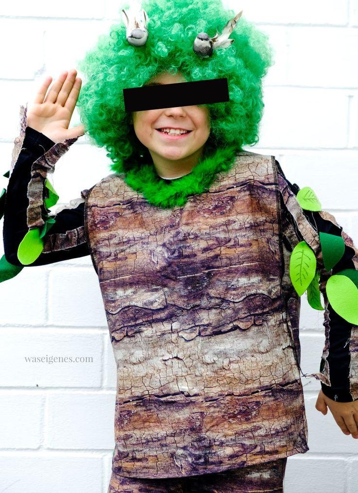diy karneval kostüm selber machen baum  baumstoff