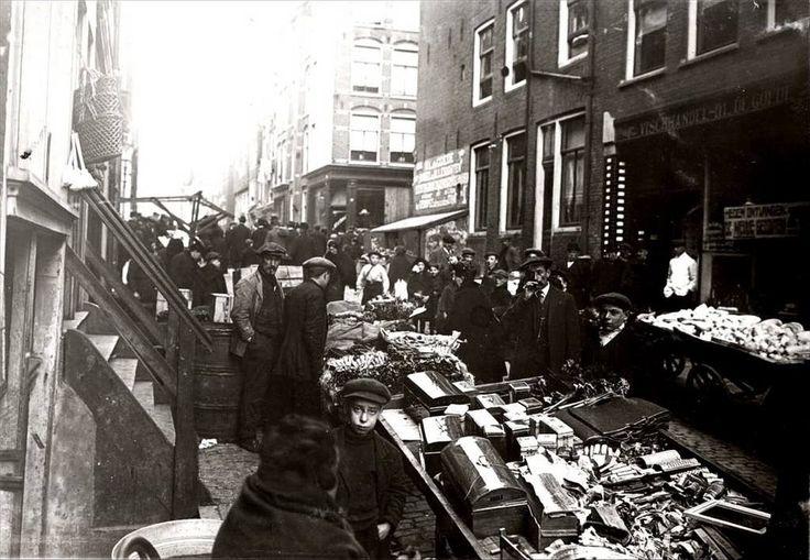 Joodse markt in Amsterdam 1900