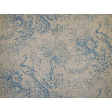Blue peacocks upholstery fabric<br />Images on screen cannot do the quality of this material justice. To see it fully please order a sample.