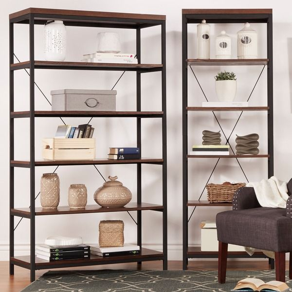 For dining area or office. TRIBECCA HOME Somme Rustic Metal Frame 6-tier Bookshelf Media Tower