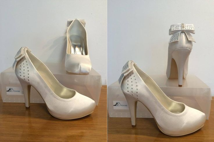 Made to order model 7 Ivory satin 10cm heel  Size 4-11 $99 (includes free postage)  THESE ARE PART OF OUR CUSTOM ORDER RANGE- 26 COLOUR & FABRIC COMBINATIONS WITH 7 HEEL HEIGHTS www.dreemshoes.com