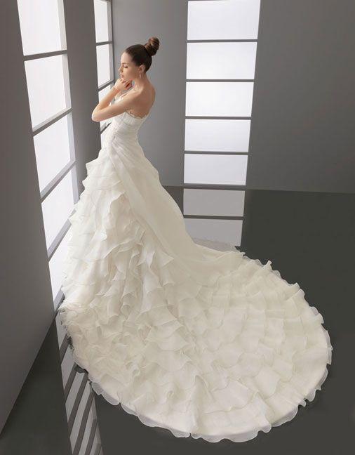 Strapless dropped waist A-line organza wedding dress