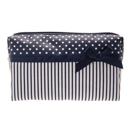 Medium Navy Polka Dot Stripe Cosmetics Bag