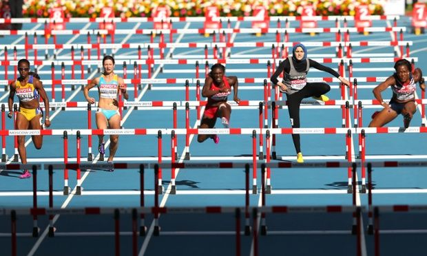 Fast lane: Kierre Beckles of Barbados, Anastasiya Soprunova of Kazakhstan, Dawn Harper of the United States, Salma Emam Abou El-Hassan of Egypt and Tiffany Porter of Great Britain compete in the women's 100 metres hurdles heats during the IAAF world athletics championships in Moscow