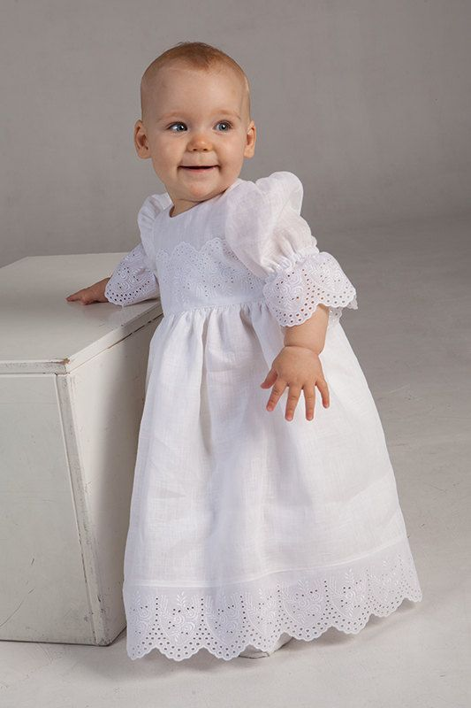 Baby girl baptism christening linen dress, baby special occasion dress, wedding party flower girl dress, girl blessing gown, white, kids eco on Etsy, $90.00