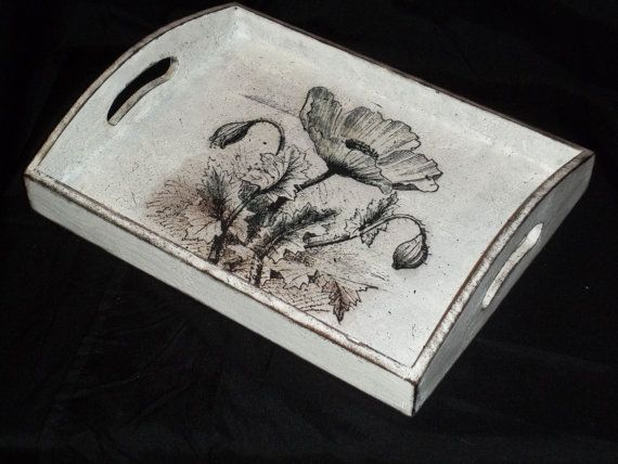 Hand painted wooden serving tray decorated with decoupage and paintings, distressed to have vintage look . This tray is 12 1/2x 9 1/2 x 1 3/4 ( 32