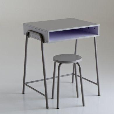bureau enfant mdf et m tal et tabouret assorti la redoute petit mobilier pinterest bureau. Black Bedroom Furniture Sets. Home Design Ideas