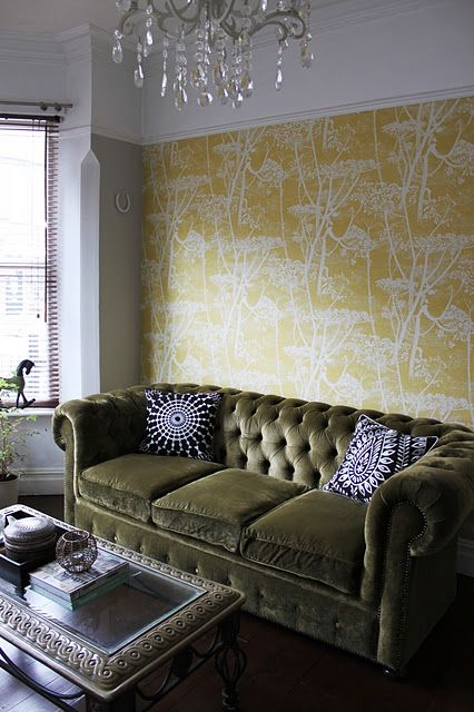 25 best ideas about olive green couches on pinterest - Chesterfield sofa living room ideas ...